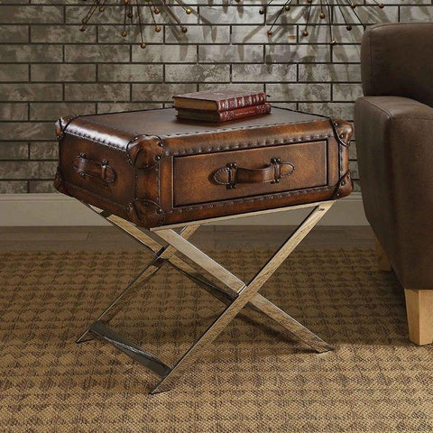 Acme Aberdeen 83556 Top Grain Leather End Table-End Tables-Acme-End Tables-bedsville.com