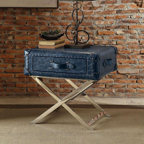 Acme Aberdeen 83558 Top Grain Leather End Table-End Tables-Acme-End Table-bedsville.com