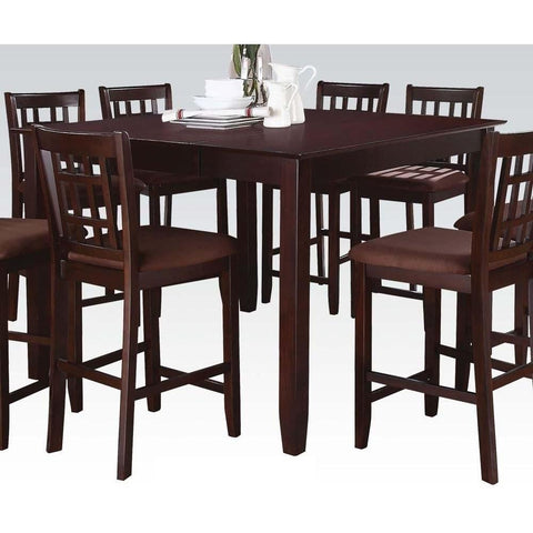 Acme Adalia 5 Pc Dark Chocolate Microfiber and Walnut 70680 Dining Set-Bar Table Sets-Acme-bedsville.com