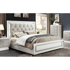 Acme Allendale 20197EK 20200Q Beige PU and Ivory Panel Bed-Panel Beds-Acme-EASTERN KING BED-bedsville.com