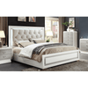 Image of Acme Allendale 20197EK 20200Q Beige PU and Ivory Panel Bed-Panel Beds-Acme-EASTERN KING BED-bedsville.com