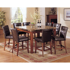 Acme Bologna 07380 7-Piece Dining Set in Brown Marble Top and Brown Cherry Finish-Dining Table Sets-Acme-bedsville.com