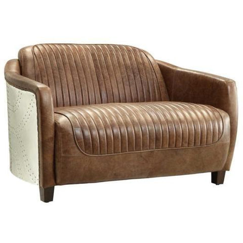 Acme Brancaster 53546 Top Grain Leather and Aluminum Loveseat-Loveseats-Acme-Loveseat-bedsville.com