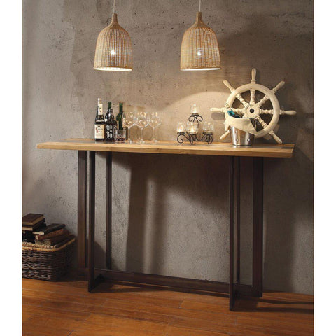 Acme Brancaster 70435 Top Grain Leather 3 PC Bar Table Set-Bar Table Sets-Acme-Bar Table Set-bedsville.com