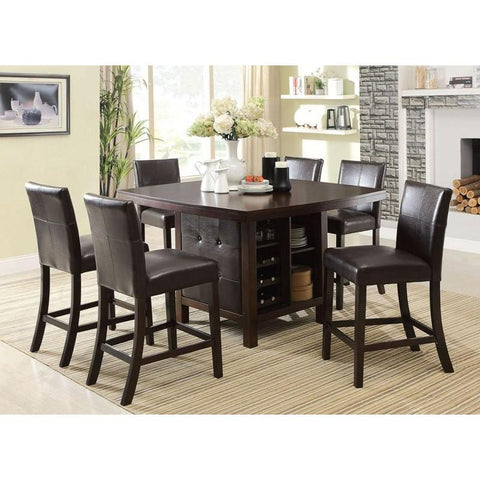 Acme Bravo 07250 7-Piece Dining Set in Espresso PU and Espresso Finish-Dining Table Sets-Acme-bedsville.com