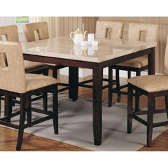 Acme Britney 17059 7-Piece Dining Set in White Marble Top and Walnut Finish