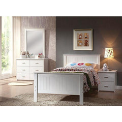 Acme Bungalow White Rubber Wood 30025 Panel Bed-Panel Beds-Acme-Twin-bedsville.com