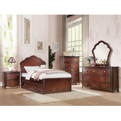 Acme Cecilie Cherry Panel Headboard Trundle Bed