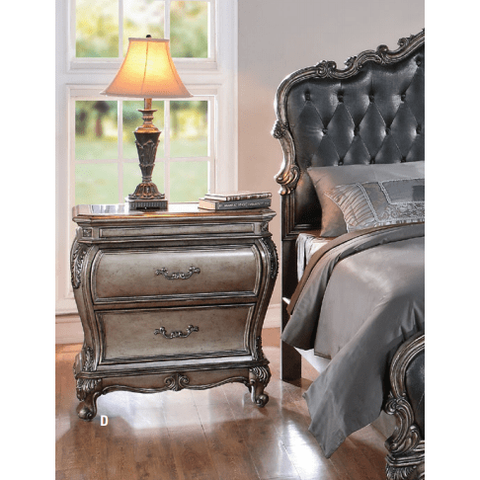 Acme Chantelle 20543 Antique Platinum Granite Top Night Stand-Nightstands-Acme-bedsville.com