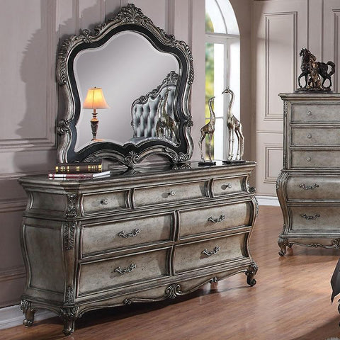 Acme Chantelle 20545 Antique Platinum Granite Top Dresser-Dressers-Acme-bedsville.com