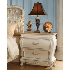 Acme Chantelle 23543 Pearl White Granite Top Nightstand-Nightstands-Acme-bedsville.com