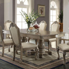 Acme Chateau De Ville Double Pedestal Antique White 7 Piece Dining Set