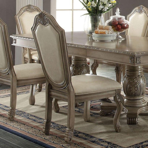 Acme Chateau De Ville Double Pedestal Antique White 7 Piece Dining Set-Dining Table Sets-Acme-Set A - 7 Piece (without the Hutch & Buffet)-bedsville.com