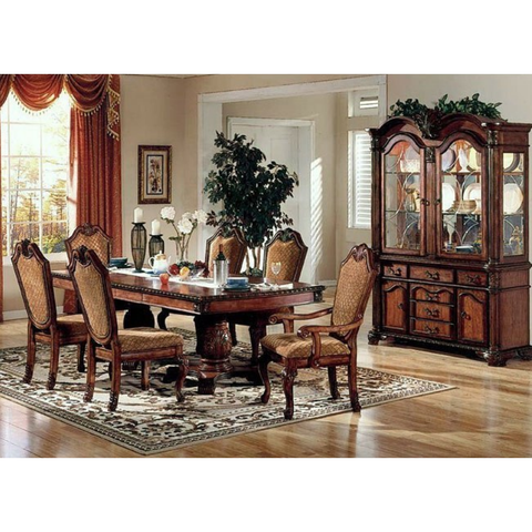 Acme Chateau De Ville Double Pedestal Espresso 7-Piece Dining Set-Dining Table Sets-Acme-Set B - 8 Piece (with the Hutch & Buffet)-bedsville.com