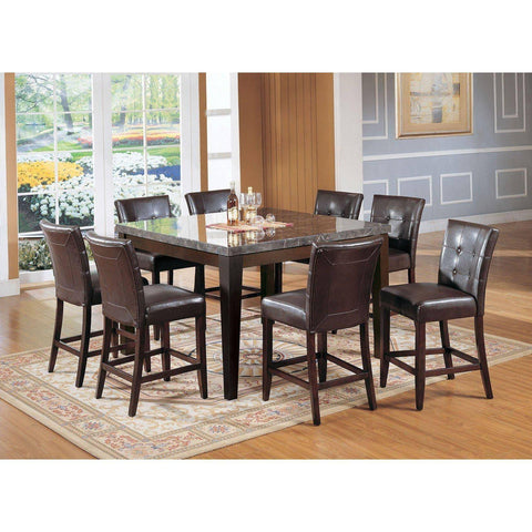 Acme Danville 07059 7-Piece Dining Set in Black Marble Top and Walnut Finish-Dining Table Sets-Acme-bedsville.com