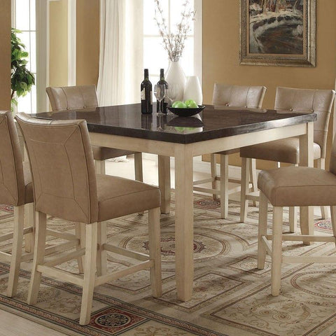 Acme Faymoor 71760 5-Piece Dining Set in Limestone Marble Top & Antique White Finish-Dining Table Sets-Acme-Set A - 5 Piece (without the Server)-bedsville.com