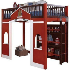 Acme Fola 37085 Red Pine Wood Loft Bed with Bookcase