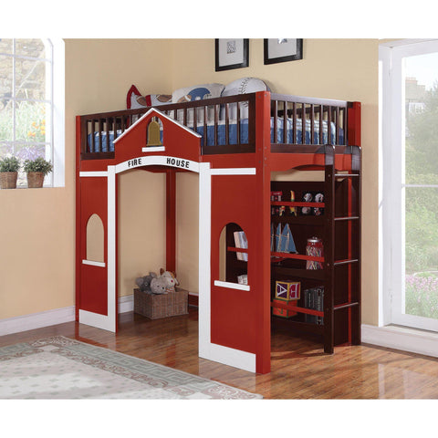 Acme Fola 37085 Red Pine Wood Loft Bed with Bookcase-Loft Beds-Acme-Loft Beds-bedsville.com