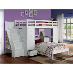 Acme Freya White Solid Wood 37145 Twin Loft Bed with Storage