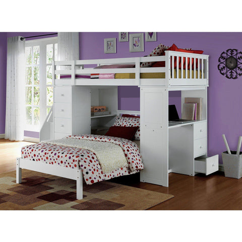 Acme Freya White Solid Wood 37145 Twin Loft Bed with Storage-Loft Beds-Acme-Loft Beds-bedsville.com