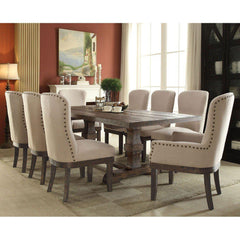 Acme Landon 60737 7-Piece Dining Set in Beige Linen & Salvage Brown Finish