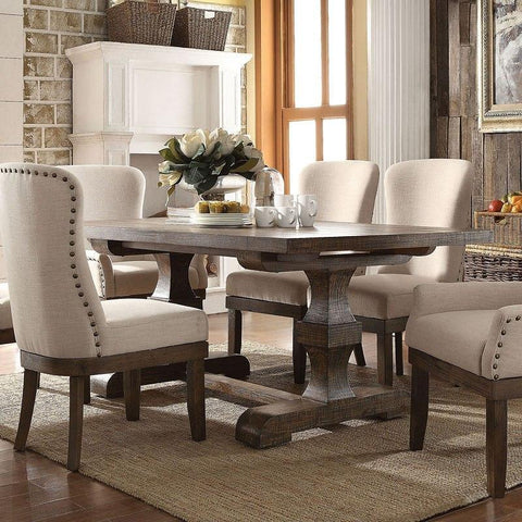 Acme Landon 60737 7-Piece Dining Set in Beige Linen & Salvage Brown Finish-Dining Table Sets-Acme-Set A - 7 Piece (without the Server)-bedsville.com