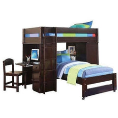 Acme Lars 37495 Wenge Twin Loft Bed with Twin Bed