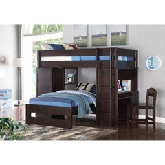 Acme Lars 37495 Wenge Twin Loft Bed with Twin Bed-Loft Beds-Acme-Loft Beds-bedsville.com