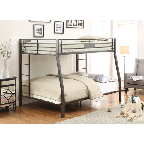 Acme Limbra Black Metal 38005 Full XL over Queen Bunk Bed-Bunk Beds-Acme-Bunk Beds-bedsville.com