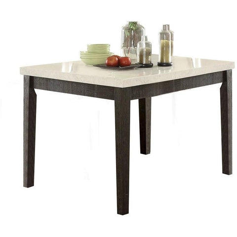 Acme Nolan 72855 5-Piece Dining Set in White Marble Top & Salvage Dark Oak Finish-Dining Table Sets-Acme-Set A - 5 Piece (without the Server)-bedsville.com