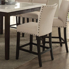 Image of Acme Nolan 72855 5-Piece Dining Set in White Marble Top & Salvage Dark Oak Finish
