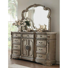 Acme Northville 26937 Antique Champane Finish Dresser With Marble Top-Dressers-Acme-bedsville.com