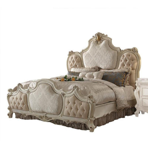 Acme Picardy 26880Q 26877EK Antique Pearl Platform Bed-Platform Beds-Acme-QUEEN BED-bedsville.com