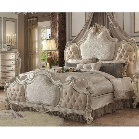 Acme Picardy 26880Q 26877EK Antique Pearl Platform Bed-Platform Beds-Acme-EASTERN KING BED - Not Available-bedsville.com