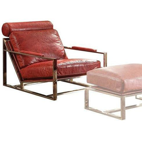 Acme Quinto Antiqued 96673 Red Leather Stainless Steel Ottoman-Ottomans-Acme-Ottomans-bedsville.com
