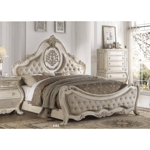 Acme Ragenardus Beige Linen and Antique White Panel Bed-Panel Beds-Acme-California King-bedsville.com