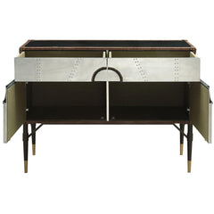 Acme Rosy 90030 Top Grain Leather and Aluminum Console Table