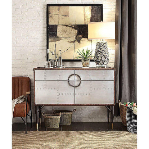 Acme Rosy 90030 Top Grain Leather and Aluminum Console Table-End Tables-Acme-End Tables-bedsville.com