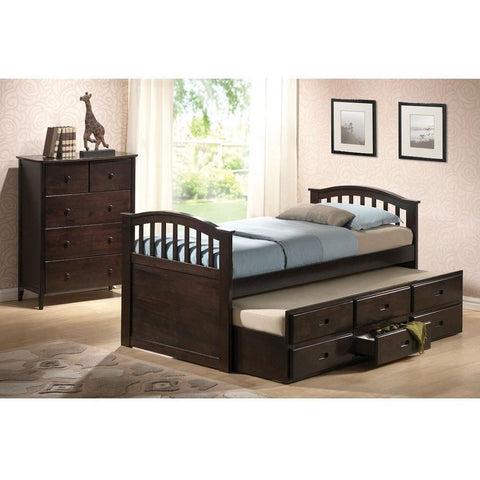 Acme San Marino Dark Walnut Solid Wood 04990 Trundle Bed with Drawers-Storage Beds-Acme-Twin-bedsville.com