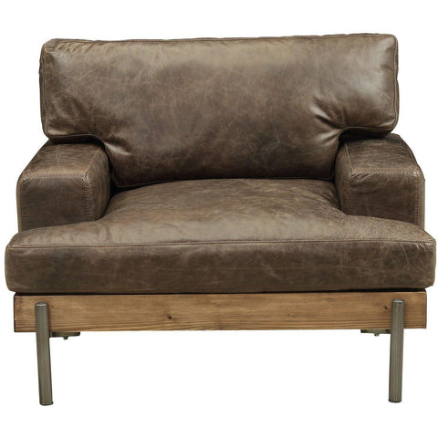 Acme Silchester 52477 Top Grain Leather and Oak Chair-Arm Chairs-Acme-Living Room Chairs-bedsville.com