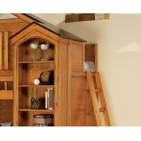 Acme Tree House 10160 Twin Loft Bed with Bookcase Cabinet-Loft Beds-Acme-Loft Beds-bedsville.com