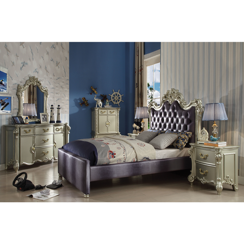 Acme Vendome II Gray Fabric 30695 Teenage Sleigh Bed-Sleigh Beds-Acme-Full Set-bedsville.com