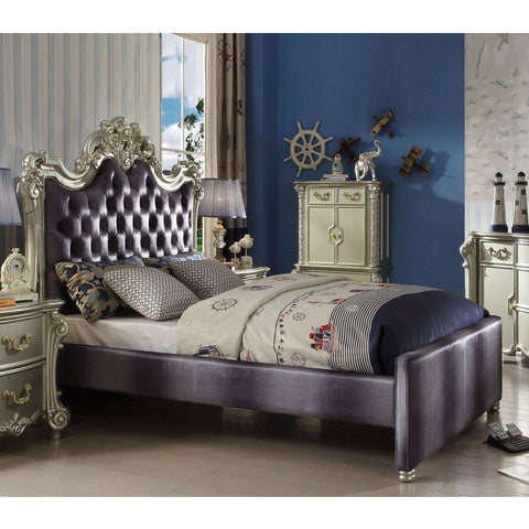Acme Vendome II Gray Fabric 30695 Teenage Sleigh Bed-Sleigh Beds-Acme-Full-bedsville.com