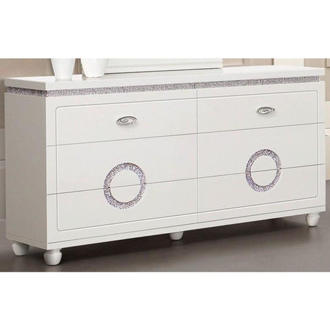 Acme Vivaldi 20245 White High Gloss Finish Dresser-Dressers-Acme-bedsville.com