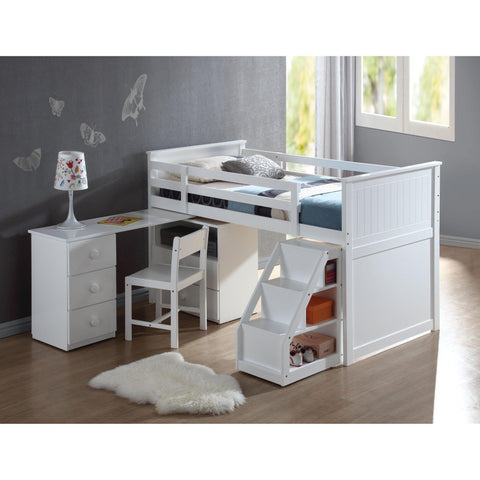 Acme Wyatt 19405 White Loft Bed with Swivel Desk Ladder and Chest-Loft Beds-Acme-Loft Beds-bedsville.com