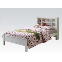 Acme Yara White Solid Wood Twin 37058T Panel Bed-Panel Beds-Acme-Panel Beds-bedsville.com