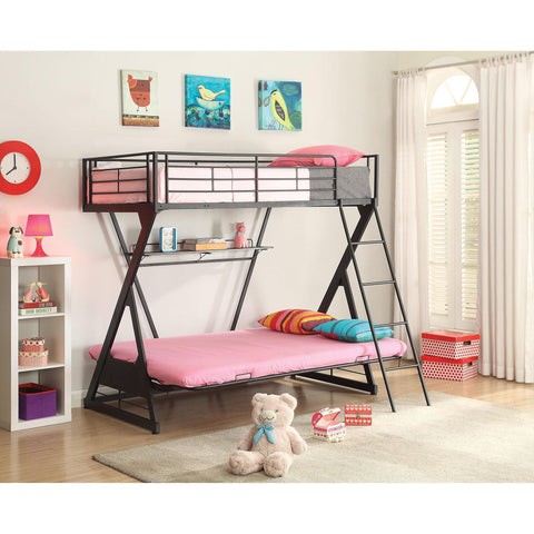 Acme Zazie 37136 Sandy Black Twin over Full Futon Bed with Bookshelf-Bunk Beds-Acme-Bunk Beds-bedsville.com