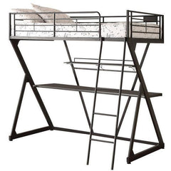 Acme Zazie 37138 Sandy Black Twin Loft Bed with Bookshelf