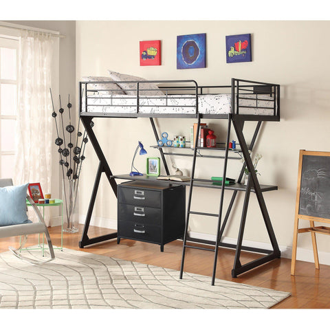 Acme Zazie 37138 Sandy Black Twin Loft Bed with Bookshelf-Loft Beds-Acme-Loft Beds-bedsville.com