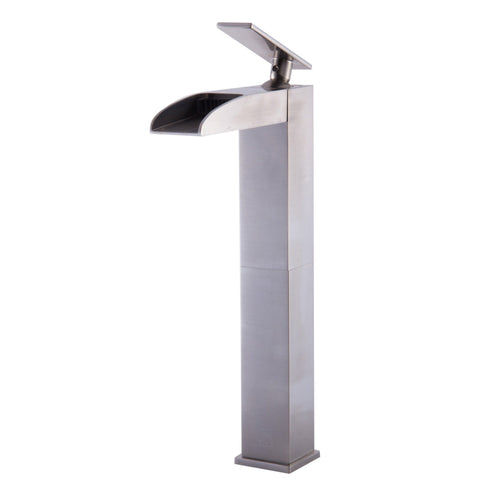ALFI brand Brushed Nickel AB1597-BN Tall Waterfall Bathroom Faucet-Waterfall Bathroom Faucets-Alfi-bedsville.com